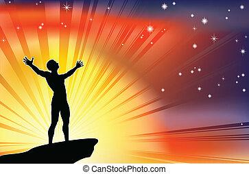 Hombre en la cima del precipicio con brazos levantados