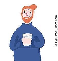 hombre, enfermo, frío, bebida, mano, dibujado, té, tipo, illustration.