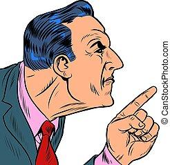 hombre, enojado, puntos, dedo