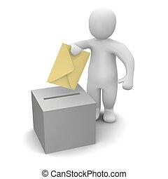 Hombre enviando carta o concepto de voto.