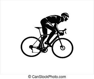 hombre, equitación, silueta, bicicleta