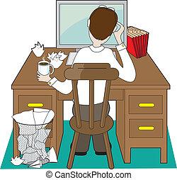 hombre, escritorio