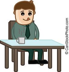Hombre esperando comida