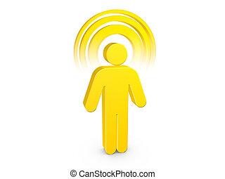 Hombre espiritual amarillo con aura de color visible