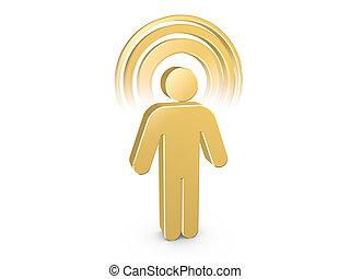 Hombre espiritual azul dorado con aura de color visible
