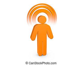 Hombre espiritual naranja con aura de color visible