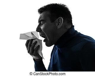 Hombre estornudando retrato de silueta