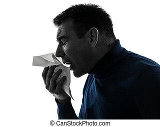 Hombre estornudo retrato de silueta