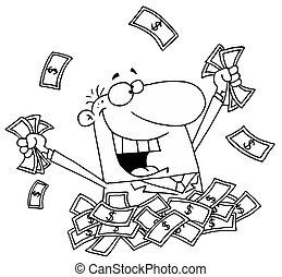 Hombre feliz en una pila de dinero