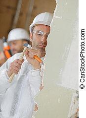 hombre, foto, depicts, cincel, martillo