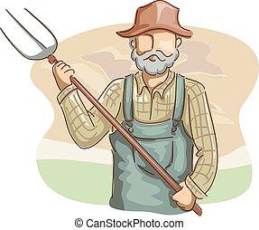 Hombre granjero horquilla