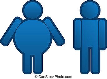 hombre, grasa, delgado