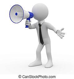 Hombre hablando en un megáfono