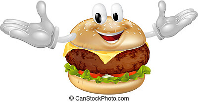 hombre, hamburguesa, mascota
