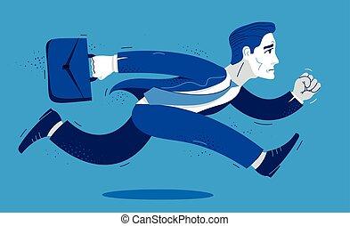 hombre, hombre de negocios, apuro, tarde, empleado, divertido, ilustración, cómico, corra, lindo, vector, contador, caricatura, trabajador, empresa / negocio, rush., o