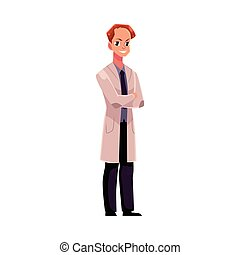 Hombre, hombre doctor con abrigo médico con los brazos cruzados
