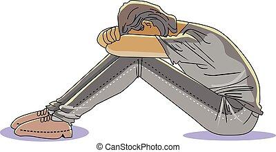 hombre, ilustración, triste