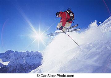 hombre, joven, esquí