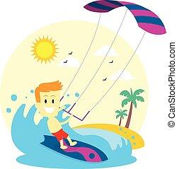 hombre, kitesurfing, el gozar