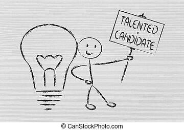 hombre, knowledge:, talentoso, candidato, ideas