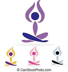 hombre, logotipo, conjunto, yoga