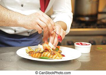Hombre manos con carne fresca