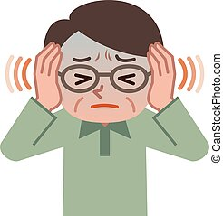 Hombre mayor sufriendo de tinnitus