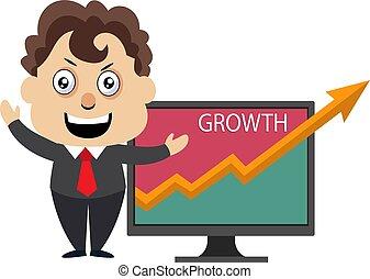 Hombre mostrando análisis de crecimiento, ilustración, vector de fondo blanco.
