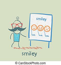 Hombre mostrando una presentación con sonrisas