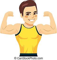 hombre, muscular, bíceps