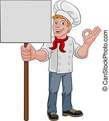 hombre, panadero, tenencia, caricatura, señal, chef, cocinero