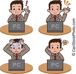 Hombre para operar la computadora
