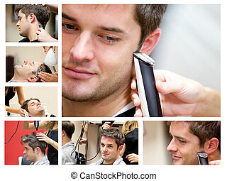 hombre, peluquero, joven, collage