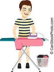 Hombre planchando camisa
