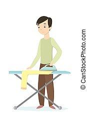 Hombre planchando ropa.