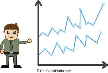 Hombre presentando barra de gráficos