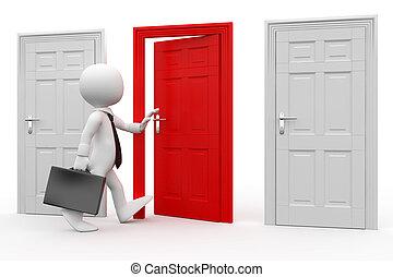 hombre, puerta roja, entrar