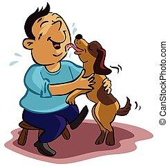 Hombre que se preocupa por el perro