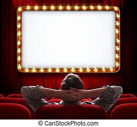 hombre que sienta, cortina, frente, encendido, rojo, señal, teatro