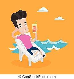 Hombre relajado en la silla de playa ilustración vectorial.