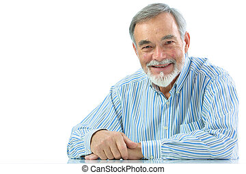hombre, retrato, 3º edad, sonreír feliz