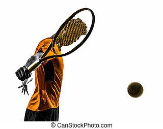 Hombre, retrato de jugador de tenis silueta