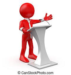 Hombre Rojo hablando en una conferencia