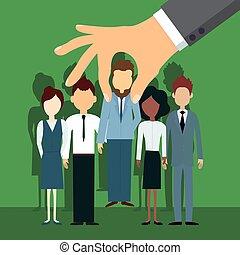 hombre, selects, manualmente, empleador, especialista, grupo, seleccionado