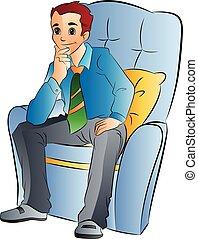 Hombre sentado en una silla suave, ilustración