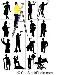hombre, silhouettes., trabajadores, woma