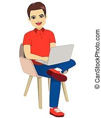hombre, silla, computador portatil, sentado