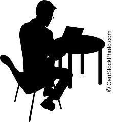 Hombre silueta negro sentado detrás de la computadora, en un fondo blanco