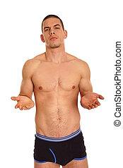 Hombre sin camisa muestra palma