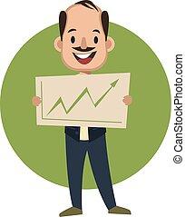 Hombre sosteniendo signo analítico, ilustración, vector de fondo blanco.
